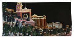 Las Vegas Strip Oil On Canvas Hand Towel