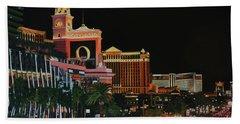 Las Vegas Strip Oil On Canvas Painting Bath Towel