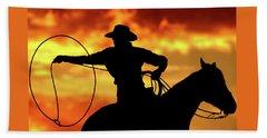 Lasso Sunset Cowboy Bath Towel