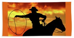 Lasso Sunset Cowboy Hand Towel