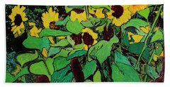Hand Towel featuring the painting Last Garden 3 by Ron Richard Baviello