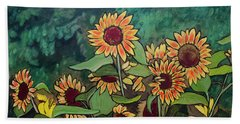 Hand Towel featuring the painting Last Garden by Ron Richard Baviello