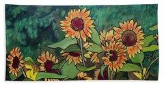 Bath Towel featuring the painting Last Garden by Ron Richard Baviello
