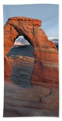 Last Light On Delicate Arch  Bath Towel by Jeff Brunton