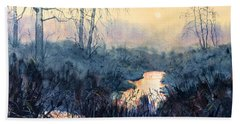 Last Light On Skipwith Marshes Bath Towel