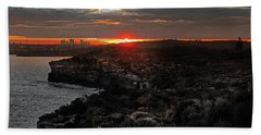 Hand Towel featuring the photograph Last Light Over North Head Sydney by Miroslava Jurcik
