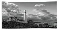 Hand Towel featuring the photograph Late Afternoon Clouds, Portland Head Light  -98461 by John Bald