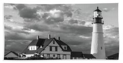 Late Afternoon Clouds, Portland Head Light  -98461-sq Hand Towel