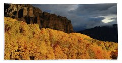 Late Afternoon Light On The Cliffs Near Silver Jack Reservoir In Autumn Hand Towel by Jetson Nguyen