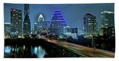 Late Night Above Austin Hand Towel by Frozen in Time Fine Art Photography