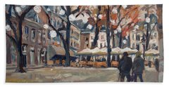 Late November At The Our Lady Square Maastricht Bath Towel by Nop Briex