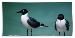 Laughing Gulls Hand Towel by Sally Weigand