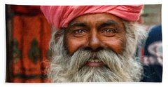 Laughing Indian Man In Turban Hand Towel