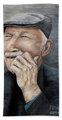 Hand Towel featuring the painting Laughing Old Man by Judy Kirouac