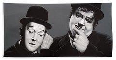 Laurel And Hardy Hand Towel by Paul Meijering