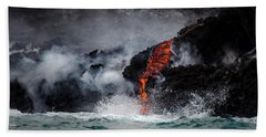Lava Dripping Into The Ocean Hand Towel