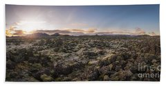 Lava Field Panorama Sunrise Hand Towel