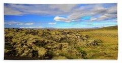 Lava Fields Of Iceland Bath Towel by Allan Levin