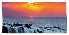 Lava Rock And Vog Sunset Hand Towel