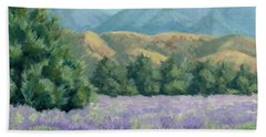 Hand Towel featuring the painting Lavender, Blue And Gold by Sandy Fisher