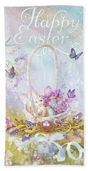 Bath Towel featuring the mixed media Lavender Easter by Mo T