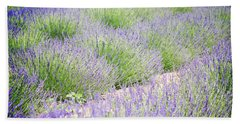 Lavender Field Farm Landscape Bath Towel by Andrea Hazel Ihlefeld