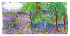 Hand Towel featuring the painting Lavender Fields by Cathie Richardson