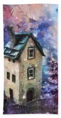 Hand Towel featuring the painting Lavender Hill by Mo T