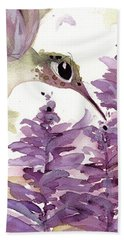 Bath Towel featuring the painting Lavender Hummer by Dawn Derman