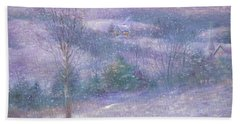 Hand Towel featuring the painting Lavender Impressionist Snowscape by Judith Cheng