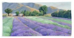 Hand Towel featuring the painting Lavender Lines by Sandy Fisher