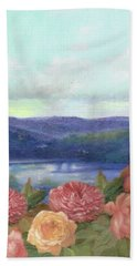 Hand Towel featuring the painting Lavender Morning With Roses by Judith Cheng