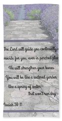 Lavender Path With Scripture Art Isiah 58 Hand Towel