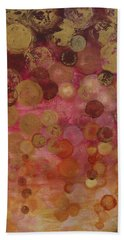 Layers Of Circles On Red Bath Towel by Kristen Abrahamson