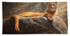 Laying Cougar Hand Towel