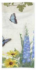 Hand Towel featuring the painting Le Petit Jardin 1 - Garden Floral W Butterflies, Dragonflies, Daisies And Delphinium by Audrey Jeanne Roberts