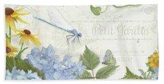 Le Petit Jardin 2 - Garden Floral W Dragonfly, Butterfly, Daisies And Blue Hydrangeas Bath Towel