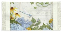 Bath Towel featuring the painting Le Petit Jardin 2 - Garden Floral W Dragonfly, Butterfly, Daisies And Blue Hydrangeas W Border by Audrey Jeanne Roberts