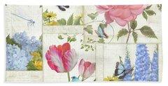 Le Petit Jardin - Collage Garden Floral W Butterflies, Dragonflies And Birds Bath Towel