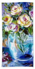 Hand Towel featuring the painting Le Rose Bianche by Roberto Gagliardi