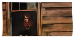 Hand Towel featuring the painting Lea Henry Broken Window Broken Dreams by Ron Richard Baviello