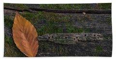 Leaf On Log  Bath Towel