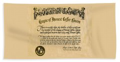 League Of Honest Coffee Lovers Certificate Hand Towel by Phil Cardamone