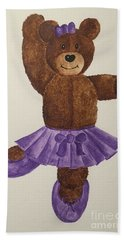 Bath Towel featuring the painting Leah's Ballerina Bear 1 by Tamir Barkan