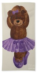 Bath Towel featuring the painting Leah's Ballerina Bear 3 by Tamir Barkan