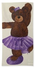 Bath Towel featuring the painting Leah's Ballerina Bear 4 by Tamir Barkan