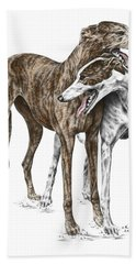 Lean On Me - Greyhound Dogs Print Color Tinted Bath Towel