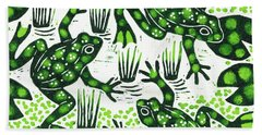 Leaping Frogs Hand Towel by Nat Morley
