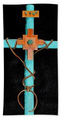 Bath Towel featuring the mixed media Leather And Stone Cross by M Diane Bonaparte