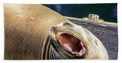 California Sea Lion Yawn Bath Towel